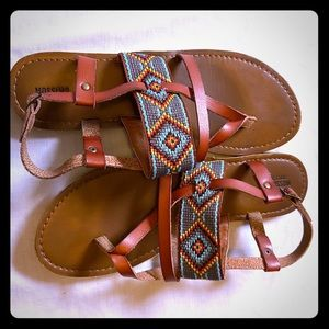 Mossimo Strappy Turquoise Aztec Native Sandals